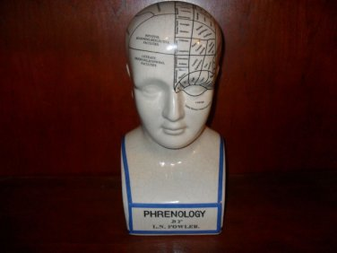 L. N. Fowler Porcelain Phrenology Scientific Head/Bust 12 Inches Tall