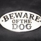"Cast Iron Painted ""BEWARE OF THE DOG"" Wall Plaque"