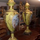 Pair of Large Painted Porcelain and Bronze Temple Urn