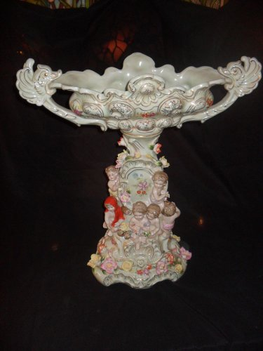 Large Dresden Style Porcelain Centerpiece with Cherubs and Raised Flowers