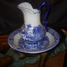 Vintage Style Porcelain  Flow Blue and White Pitcher and Bowl Wash Stand Set