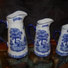 "Antique Style 3 Piece Blue and White ""Shepherd"" Pitcher Set"