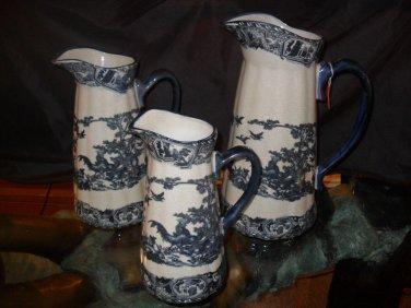 "Antique Style 3 Piece Porcelain ""Rooster"" Pitcher Set"