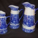 Antique Style 3 Piece Blue and White Pitcher Set