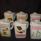 Set of 6 Porcelain Guinness Beer Promotional Beer Mugs/Pitchers