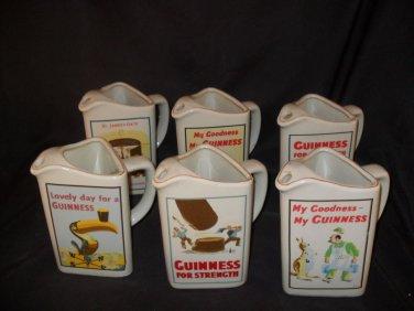 Set of 6 Porcelain Guinness Beer Promotional Beer Mugs/Pitchers