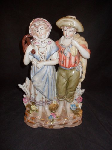 "Dresden Style Porcelain Figurine of ""Farmer and Wife"""