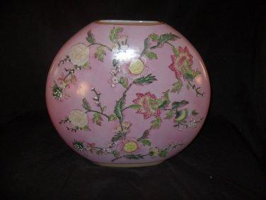 Pink Floral Painted Porcelain Moon Vase