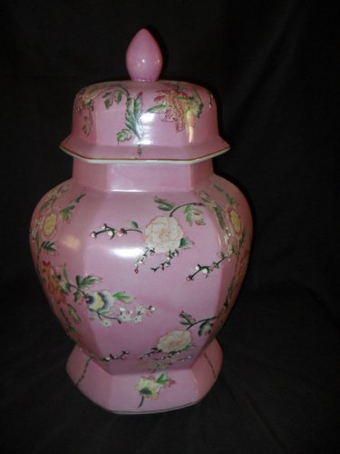 Large Porcelain Floral Painted Covered Urn