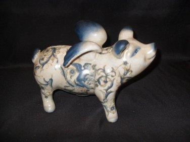 """Porceline Decorated """"Flying Pig"""" Bank"""