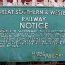 """Great Southern and Western Railway"" Cast Iron Hanging ""Notice"" Plaque"