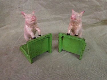 Pair of Cast Iron Pig Book Ends