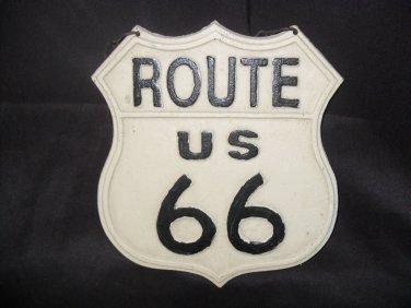 "Cast Iron ""Rt 66"" Hanging Plaque"