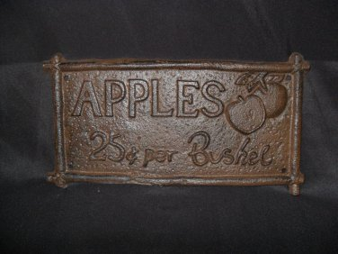"Cast Iron ""APPLES"" Plaque"