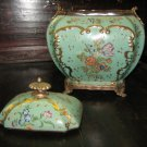 Pocelain and Bronze Tea caddy