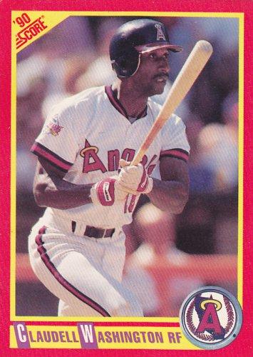 Claudell Washington - Angels 1990 Score Baseball Trading Card #298