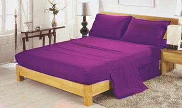 400TC PURPLE QUEEN  SOLID  SHEET SET � 100% EGYPTIAN COTTON