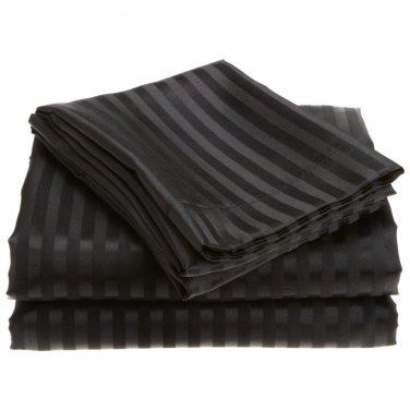600TC BLACK STRIPE QUEEN SHEET SET � 100% EGYPTIAN COTTON