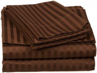 600TC CHOCOLATE STRIPE QUEEN SHEET SET � 100% EGYPTIAN COTTON