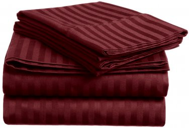 600TC WINE STRIPE QUEEN SHEET SET � 100% EGYPTIAN COTTON