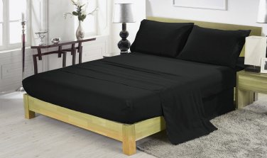 600TC BLACK SOLID QUEEN SHEET SET � 100% EGYPTIAN COTTON