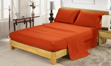 600TC BRICK RED SOLID QUEEN SHEET SET � 100% EGYPTIAN COTTON
