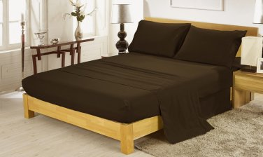 600TC CHOCOLATE SOLID QUEEN SHEET SET � 100% EGYPTIAN COTTON