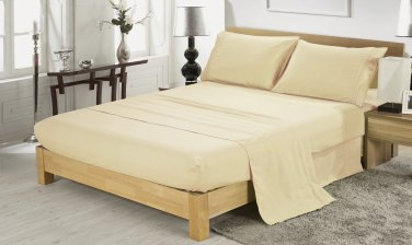 600TC IVORY SOLID QUEEN SHEET SET � 100% EGYPTIAN COTTON