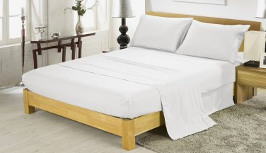 600TC WHITE SOLID QUEEN SHEET SET � 100% EGYPTIAN COTTON