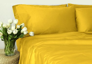 500TC GOLD SOLID QUEEN SHEET SET � 100% EGYPTIAN COTTON