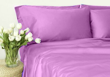 500TC LILAC SOLID QUEEN SHEET SET � 100% EGYPTIAN COTTON