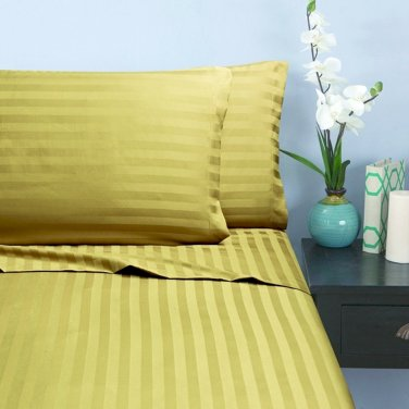 500TC BEIGE  STRIPE QUEEN SHEET SET � 100% EGYPTIAN COTTON