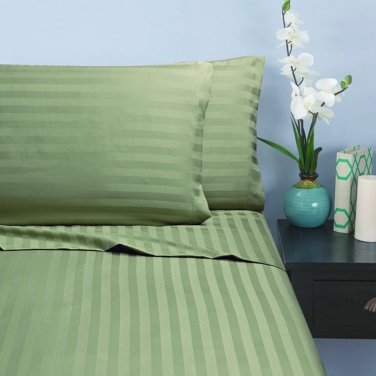 500TC SAGE  STRIPE QUEEN SHEET SET � 100% EGYPTIAN COTTON