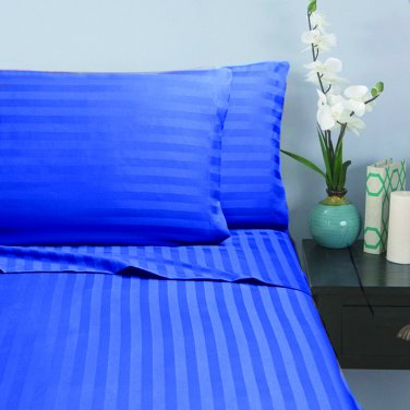 400TC EGYPTION BLUE  STRIPE   KING SHEET SET � 100% EGYPTIAN COTTON