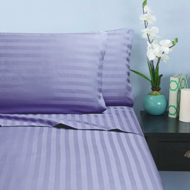 400TC LILAC STRIPE   KING SHEET SET � 100% EGYPTIAN COTTON