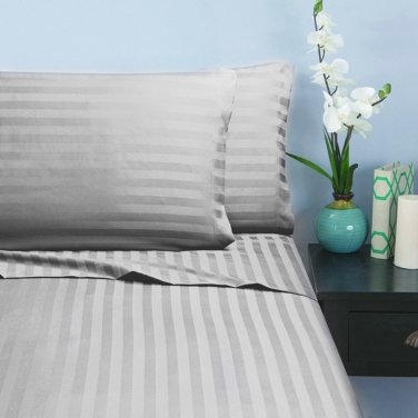 400TC WHITE STRIPE   KING SHEET SET � 100% EGYPTIAN COTTON