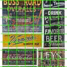 1017 - Advertising Decal Set 9 BOSS ROAD PABST VERNORS JEWELRY COKE COLA