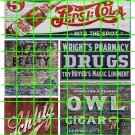 1004 - Advertising Decal Set 10 GHOST SIGNS PEPSI OWL CIGARS DRUGS SCHLITZ