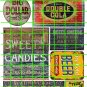 1033- Advertising Decal Set 12 GHOST SIGNS DOUBLE COLA BIG DOLLAR SWEETS CANDY BEER GASOLINE
