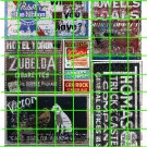 1025 - Advertising Decal Set 13 GHOST SIGNS PBR VICTOR WALGREEN COLA ELMERS