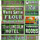 1019 - Advertising Decal Set 18 GHOST SIGN FLOUR HOTEL ROOMS RYE CALDWELL