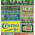 1037 - Advertising Decals Set 23 GHOST SIGNS OWL CIGARS CREMO ICE RED MAN FLOUR