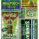 1010 - Advertising Decals Set 24 GHOST SIGNS SUN RAY MAIL POUCH COKE COLE BIG KING CAFE
