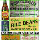 1041 - Advertising Decals Set GHOST SIGN DOUBLE COLA BEANS CYCLE REPAIR
