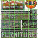 1042 - Advertising Decals Set 33 GHOST SIGNS GULF RC COLA FURNITURE CASTROL