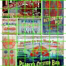 2105 - Seafood Ad Set 2 OYSTER BAR LOBSTER POT FRESH FISH RESTAURANT SIGNS