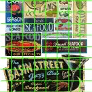 2106 - Seafood Ad Set 3 SEAFOOD RESTAURANT JAZZ CLUB  STORE SIGNS