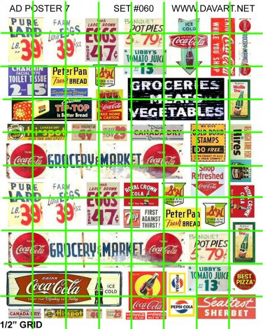5011 - Ad Poster Set 7 GROCERY PRICES STORE HEADERS  WINDOW SIGNS