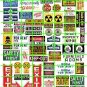 5002 - Ad Poster Set 9 EXIT WARNING TELEPHONE FACTORY SIGNAGE