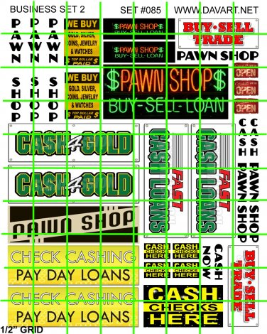 7012 - Business #2 PAWN SHOP Advertising Wall Signs